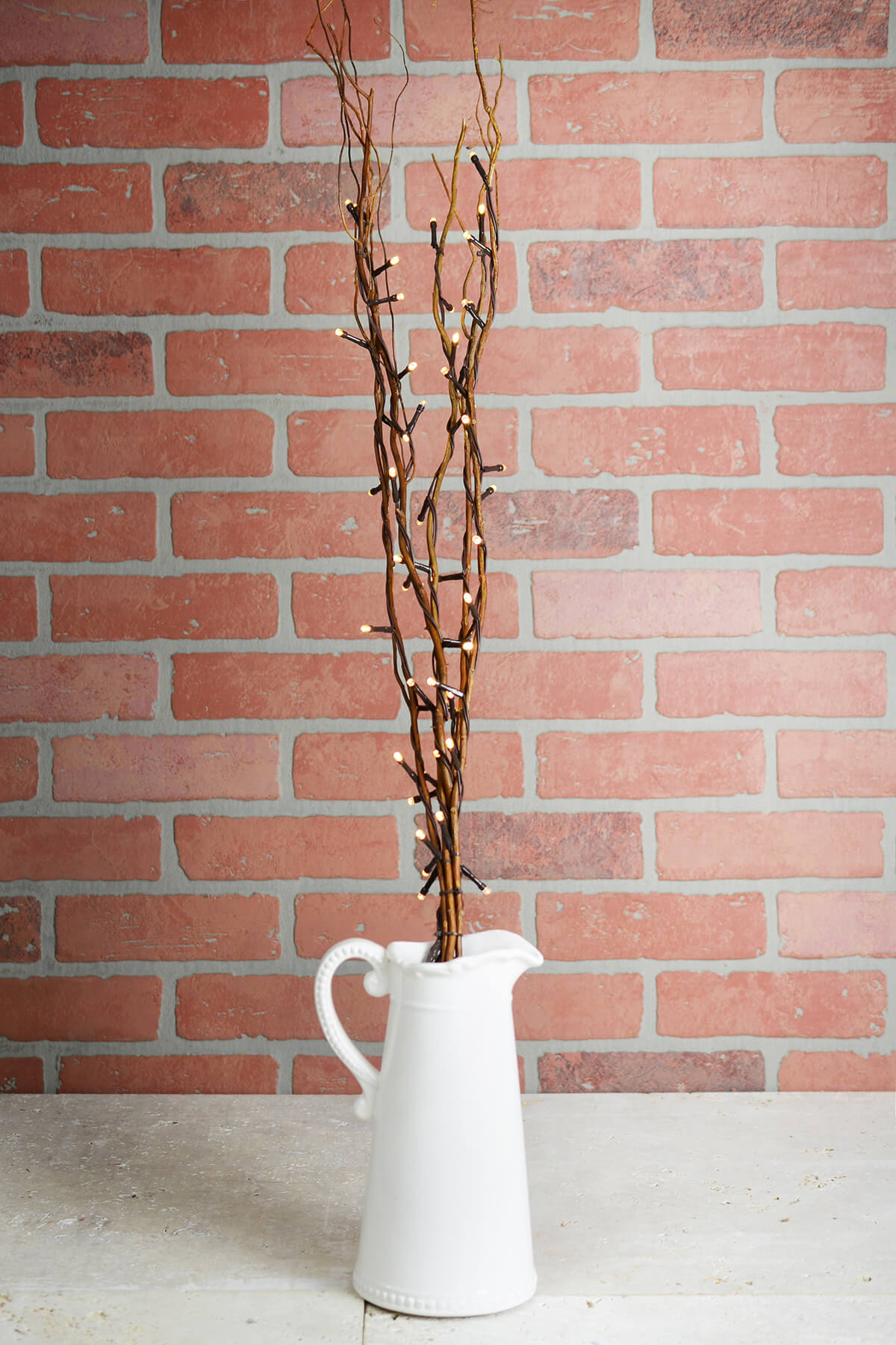 """5 Battery Operated Natural Willow Lighted Branches, Warm White, 39"""" Tall"""