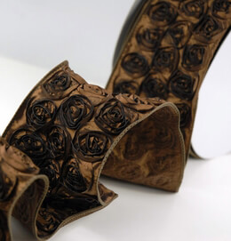 "Brown Embroidered Rose French Wired Ribbon 4"" width 10 yards"