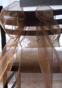 "Brown Organza Chair Sashes 9"" Wide  Pack of 10"