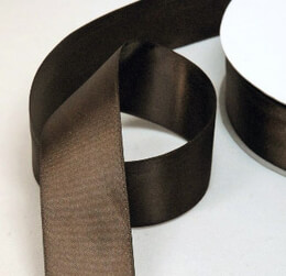 "Brown Satin Ribbon Double Face 1-1/2"" width 50 yards"