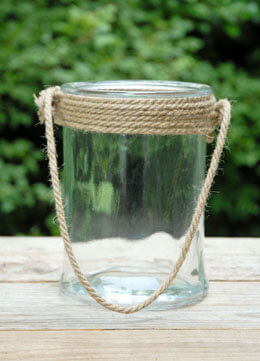 Bubble Glass Jar with Rope Handle 8.25in