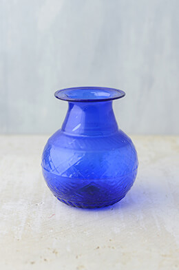 "Cobalt Blue Glass Vase 5"" x 4"""