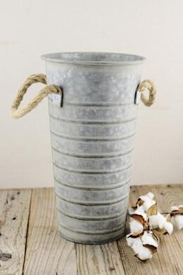 """Galvanized Flower Market 13"""" Bucket, Rope Handles"""
