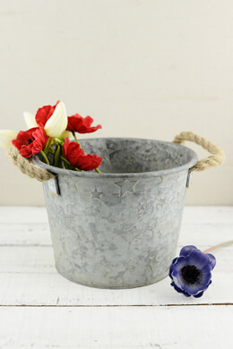 "Galvanized Metal 6-1/2"" Bucket with Rope Handles"