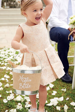 Here Comes the Bride Burlap Flower Girl Bucket