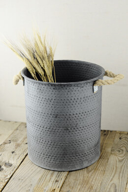 "Metal Dimpled 11.5 x 10.5"" Bucket with Rope Handles"