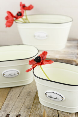 Set of 3 Cream Oval Metal Containers