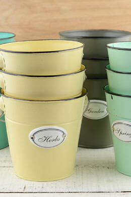 "Springtime Set of Buckets Set of 12 Buckets 4 Colors, 5""  Size"