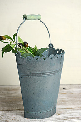 Aqua Verdigris 10in Scallop Half Bucket with Handle