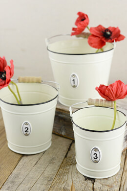 Set of Three Cream Numbered Buckets with Handles