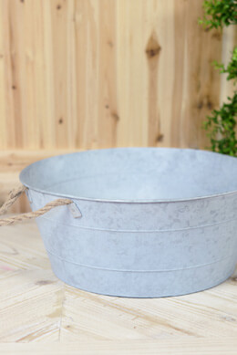 "Galvanized Metal Tub 19"" Rope Handles"