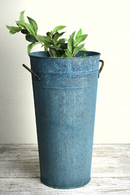 Aqua Verdigris Flower Bucket w/Handles 15in