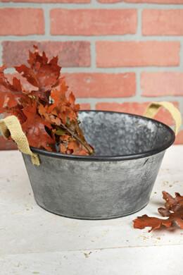 "10"" Galvanized Bucket with Burlap Handles"