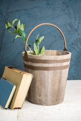 Decorative Wood & Metal Garden Planter Bucket with Handle