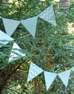 Bunting Banner Blue Patterns (12 Pennants)
