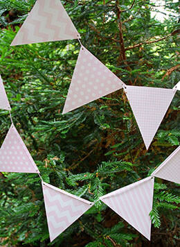 Bunting Banner Pink Patterns  (12 Pennants)