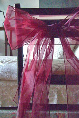 10 Organza Chair Sashes  in Burgundy Merlot