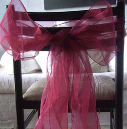 Organza Chair Sashes Burgundy (Pack of 10)