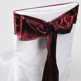 Burgundy Satin Chair Sashes (Pack of 10)