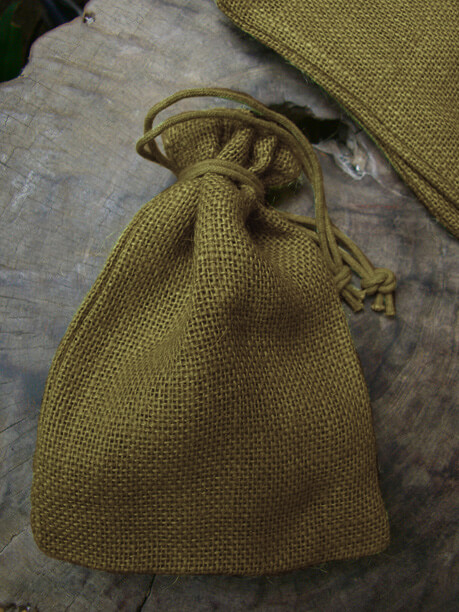 Burlap Bags Moss Green 7in | Pack of 12