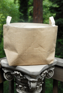 "Burlap Satchel Storage Bag with Liner  13"" x 8"" x 11"""