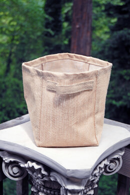 6 Burlap Storage Baskets 9 inch with Handles