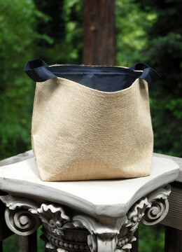 "Burlap Bag Natural Navy 9"" x 6"" x 9"" (Set of 6)"