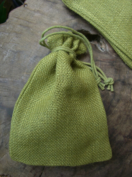 Burlap Bags Green 7in | Pack of 12