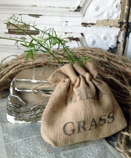 Burlap Bags Wheat Grass Stamp Drawstring 6 in.
