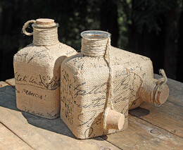 Burlap Wrapped Bottle with Cork 6.5in