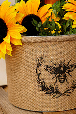 Burlap Bee Covered Galvanized Bucket 9x7in