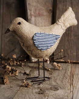 Decorative Bird Burlap 8in