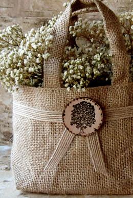 Burlap Flower Girl Basket  7x5