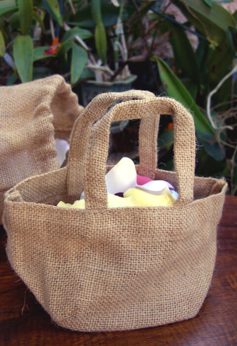 Flower Girl Baskets Burlap : Tiny burlap flower girl basket