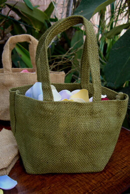 Green Burlap Flower Girl Basket  8 x 4