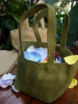 Burlap Flower Girl Basket Green