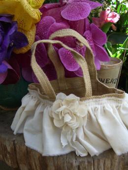 Burlap Flower Girl Basket with Cotton Ruffle & Rose