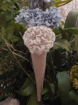 Burlap Flower Petal Cones with Tattered Rose 13""