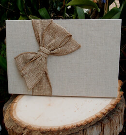 Linen Guestbook With Burlap Bow (20 Pages) Handmade