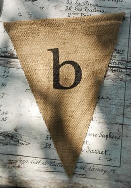 Burlap Pennant Letter B