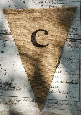 Burlap Pennant Letter C