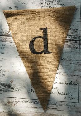 Burlap Pennant Letter D