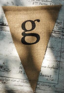 Burlap Pennant Banner Letter G