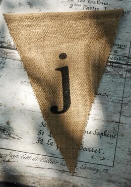 Burlap Pennant Banner Letter J