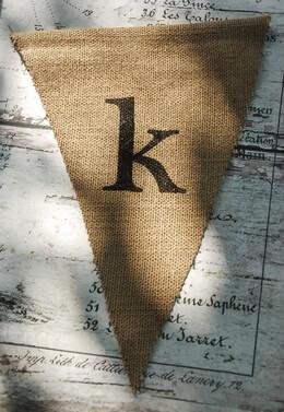 Burlap Pennant Banner Letter K