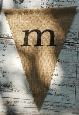 Burlap Pennant Letter M