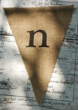 Burlap Pennant Letter N