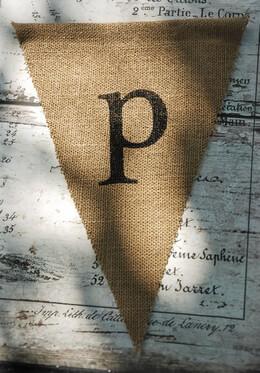 Burlap Pennant Banner Letter P