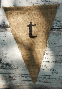 Burlap Pennant Letter T