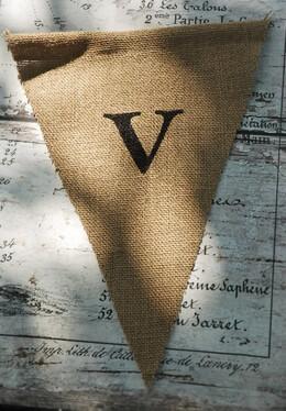 Burlap Pennant Banner Letter V